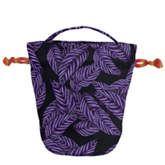 Tropical Leaves Purple Drawstring Bucket Bag