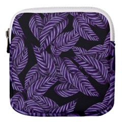 Tropical Leaves Purple Mini Square Pouch