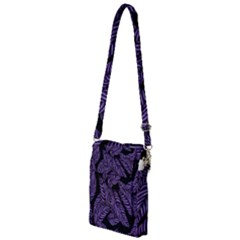 Tropical Leaves Purple Multi Function Travel Bag