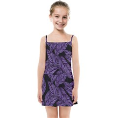 Tropical Leaves Purple Kids Summer Sun Dress