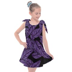Tropical Leaves Purple Kids  Tie Up Tunic Dress