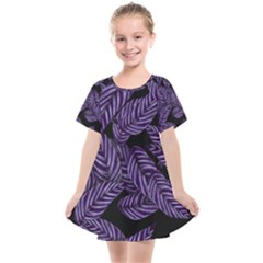 Tropical Leaves Purple Kids  Smock Dress