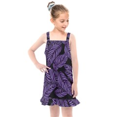 Tropical Leaves Purple Kids  Overall Dress