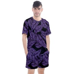 Tropical Leaves Purple Men s Mesh Tee And Shorts Set