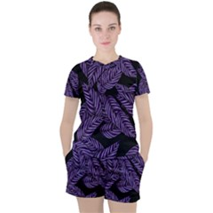 Tropical Leaves Purple Women s Tee And Shorts Set