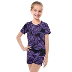Tropical Leaves Purple Kids  Mesh Tee And Shorts Set