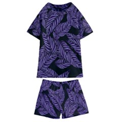 Tropical Leaves Purple Kids  Swim Tee And Shorts Set