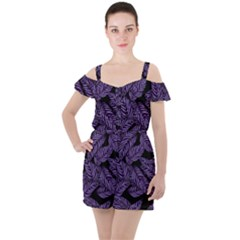 Tropical Leaves Purple Ruffle Cut Out Chiffon Playsuit