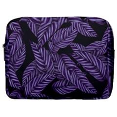 Tropical Leaves Purple Make Up Pouch (large)