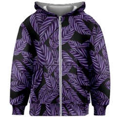 Tropical Leaves Purple Kids Zipper Hoodie Without Drawstring by vintage2030