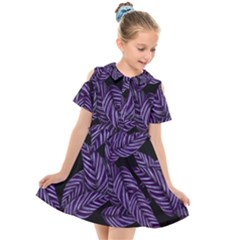 Tropical Leaves Purple Kids  Short Sleeve Shirt Dress