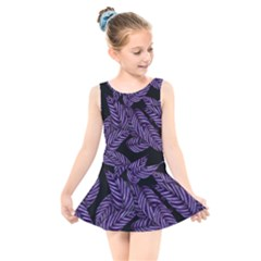 Tropical Leaves Purple Kids  Skater Dress Swimsuit