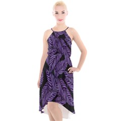 Tropical Leaves Purple High Low Halter Chiffon Dress