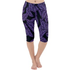Tropical Leaves Purple Lightweight Velour Cropped Yoga Leggings