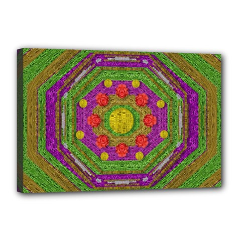 Flowers In Rainbows For Ornate Joy Canvas 18  X 12  (stretched) by pepitasart