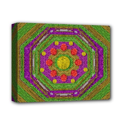 Flowers In Rainbows For Ornate Joy Deluxe Canvas 14  X 11  (stretched) by pepitasart