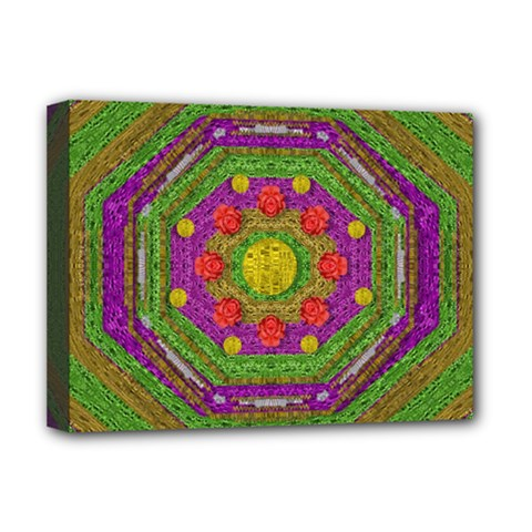 Flowers In Rainbows For Ornate Joy Deluxe Canvas 16  X 12  (stretched)