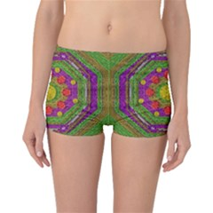 Flowers In Rainbows For Ornate Joy Boyleg Bikini Bottoms