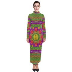 Flowers In Rainbows For Ornate Joy Turtleneck Maxi Dress by pepitasart