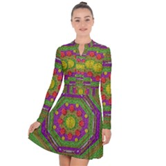 Flowers In Rainbows For Ornate Joy Long Sleeve Panel Dress