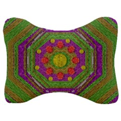 Flowers In Rainbows For Ornate Joy Velour Seat Head Rest Cushion