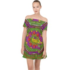 Flowers In Rainbows For Ornate Joy Off Shoulder Chiffon Dress by pepitasart