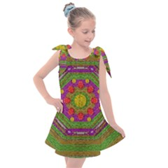 Flowers In Rainbows For Ornate Joy Kids  Tie Up Tunic Dress by pepitasart