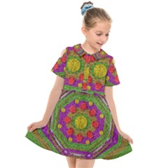 Flowers In Rainbows For Ornate Joy Kids  Short Sleeve Shirt Dress by pepitasart
