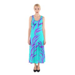 Branches Leaves Colors Summer Sleeveless Maxi Dress