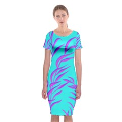 Branches Leaves Colors Summer Classic Short Sleeve Midi Dress