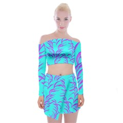 Branches Leaves Colors Summer Off Shoulder Top With Mini Skirt Set by Simbadda