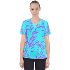 Branches Leaves Colors Summer Women s V Neck Scrub Top