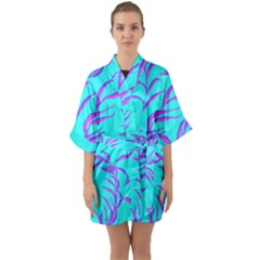 Branches Leaves Colors Summer Quarter Sleeve Kimono Robe
