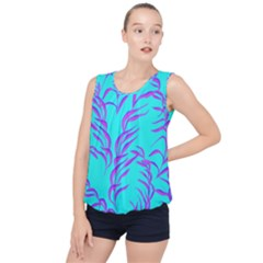 Branches Leaves Colors Summer Bubble Hem Chiffon Tank Top