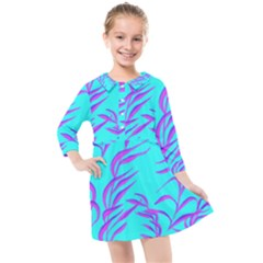 Branches Leaves Colors Summer Kids  Quarter Sleeve Shirt Dress