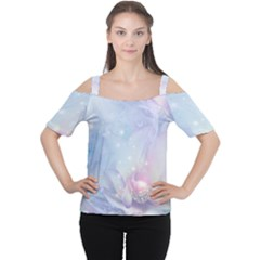 Wonderful Floral Design With Butterflies Cutout Shoulder Tee