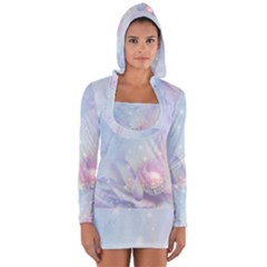 Wonderful Floral Design With Butterflies Long Sleeve Hooded T Shirt by FantasyWorld7