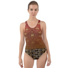 Red Blend Three Colors Pattern By Flipstylez Designs Cut-out Back One Piece Swimsuit by flipstylezdes