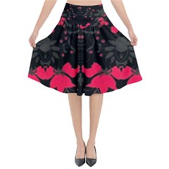 Pink Floral Pattern By Flipstylez Designs Flared Midi Skirt