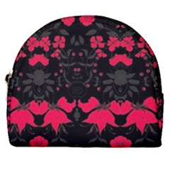 Pink Floral Pattern By Flipstylez Designs Horseshoe Style Canvas Pouch