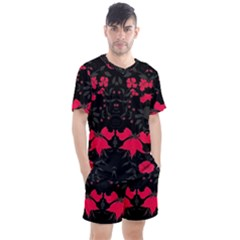 Pink Floral Pattern By Flipstylez Designs Men s Mesh Tee And Shorts Set by flipstylezdes