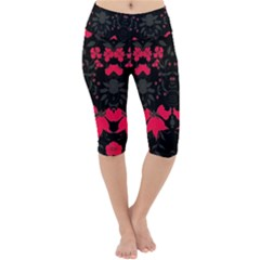 Pink Floral Pattern By Flipstylez Designs Lightweight Velour Cropped Yoga Leggings by flipstylezdes