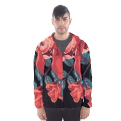 Bed Of Bright Red Roses By Flipstylez Designs Hooded Windbreaker (men)