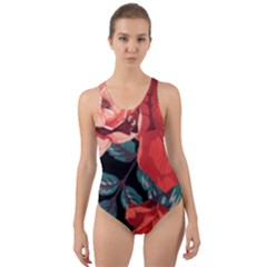 Bed Of Bright Red Roses By Flipstylez Designs Cut Out Back One Piece Swimsuit
