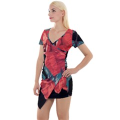 Bed Of Bright Red Roses By Flipstylez Designs Short Sleeve Asymmetric Mini Dress by flipstylezdes