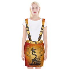 Funny Steampunk Giraffe With Hat Braces Suspender Skirt