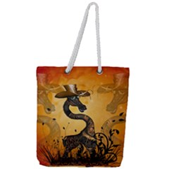 Funny Steampunk Giraffe With Hat Full Print Rope Handle Tote (large)
