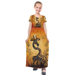 Funny Steampunk Giraffe With Hat Kids  Short Sleeve Maxi Dress by FantasyWorld7