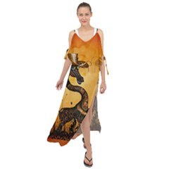 Funny Steampunk Giraffe With Hat Maxi Chiffon Cover Up Dress