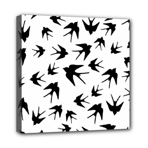 Vintage Birds Pattern Mini Canvas 8  X 8  (stretched)